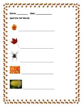 Fall Words (Trace, Copy Spell and Draw)