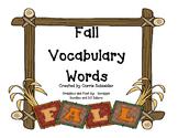 Fall Words Vocabulary
