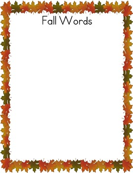 Fall Words Writing Page