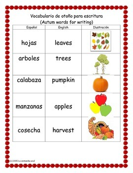 Spanish Fall Words for Writing