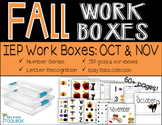 Fall Work Boxes for IEPs and Basic Skills
