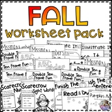 Fall Worksheet Pack