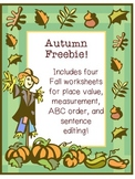 Fall Worksheet Pack Freebie!