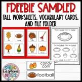 Fall Worksheet and File Folder FREEBIE