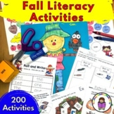 Fall Kindergarten Activities and Worksheets EDITABLE -Great for Literacy Centers