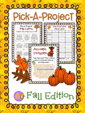 Fall Pick A Project Writing Activities, Choice Boards, Rubric