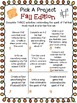 Fall Writing Activities Choice Boards, Templates, and Rubric