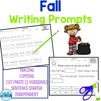 Fall Writing Activities for students with autism