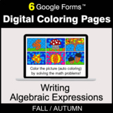 Fall: Writing Algebraic Expressions - Digital Coloring Pag