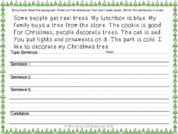 Winter Paragraph Scramble and Fix it