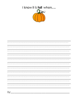 Fall Writing: I know it's fall when...