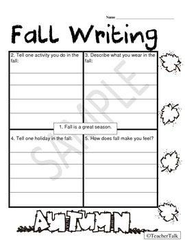 Fall Writing Organizer