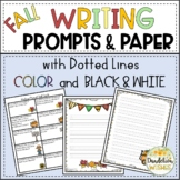 Autumn or Fall Writing Prompts & Writing Paper with Dotted Lines