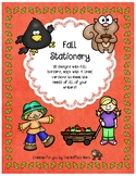 Fall Stationery- Lined Writing Paper with Fun Borders to Color!
