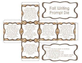 Fall Writing Prompt Cube {Freebie}