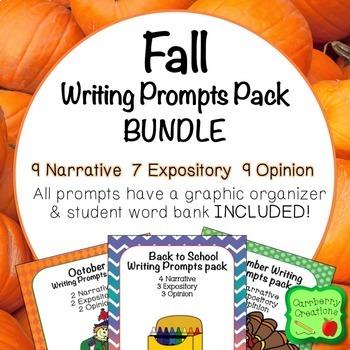 Writing Prompts 2nd Grade : Fall BUNDLE