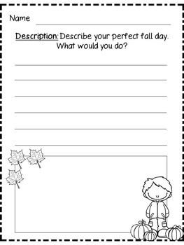 Fall Writing Prompts K-3 (Informative, Opinion, Narrative, Descriptive)