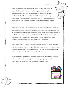 Fall Writing Prompts & Other Writing Activities