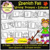 Fall Writing Prompts with Vocabulary + Editable option/Spanish(School Designhcf)