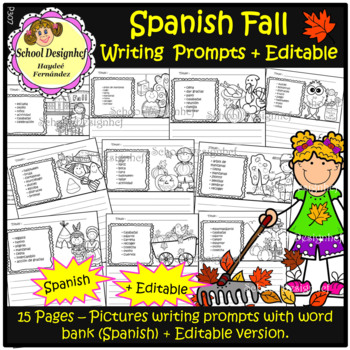 Fall Writing Prompts with Vocabulary + Editable option/Spanish(School Designhcf)