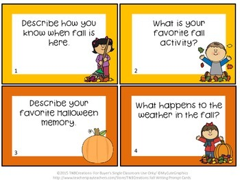 Fall Writing Prompts Task Cards