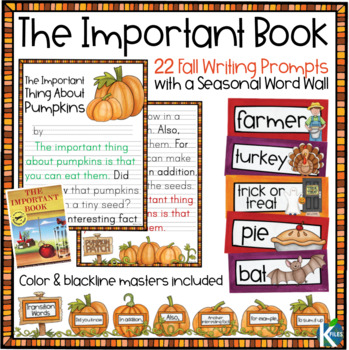 Fall Writing Prompts and Word Wall for your Writing Center