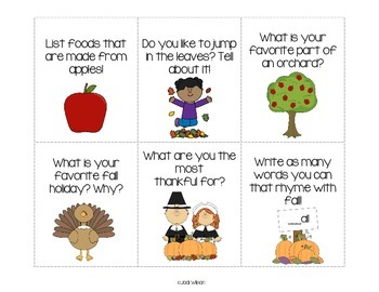 Fall Writing Prompts for Centers or Writing Instruction