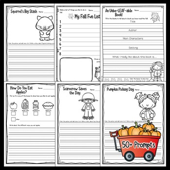 Fall Writing Prompts for Kindergarten, First Grade and Second Grade