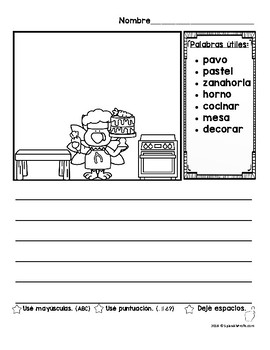 Fall Writing Prompts in Spanish with Vocabulario (Escritura con vocabulario)