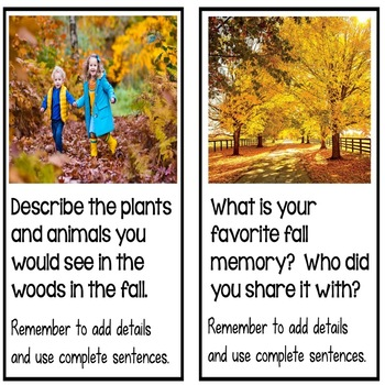 Fall Writing Prompts with Real Pictures