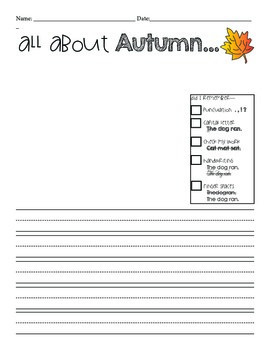 Fall Writing Template Freebie