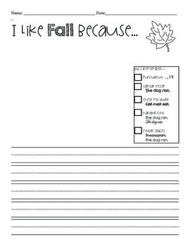 Fall Writing Template Freebie by Ms Avrick\'s Owlets | TpT