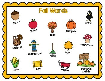Fall Writing Vocabulary Picture Cards