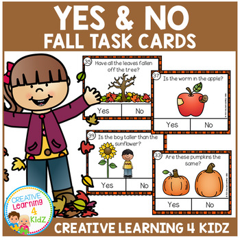 Yes & No Fall Picture Question Task Cards
