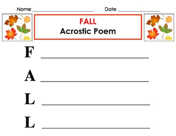 Fall acrostic poem for poetry