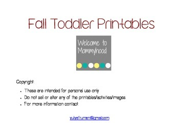 Fall activities for Toddlers (Free Montessori Printables)