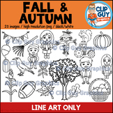 Fall and Autumn Clip Art Bundle - LINE ART ONLY {Clip Guy Graphics ClipArt}
