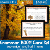Fall and Autumn Grammar BOOM Cards for Digital Learning an