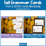 Fall and Autumn Grammar Print Task Cards & BOOM Cards BUND