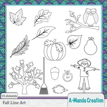 Fall and Autumn Line Art and Digital Stamps