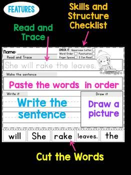 Fall and Autumn Sentence Scramble Worksheets