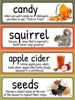 Fall and Autumn Word Wall - 72 Terms with Meaningful Photos {Editable Template}