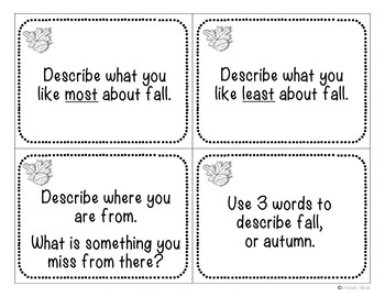 Fall and Beginning of the Year Discussion Cards