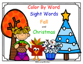 Fall and Christmas COLOR BY WORD  ~ Sight Words