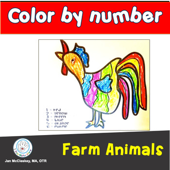 Fine Motor Fall and Farm Animal Design Color by Number Ski