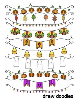 Fall and Halloween Banners COMBO Digital Clip Art Set