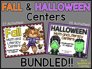 Fall and Halloween Centers BUNDLED! Math and Literacy Aligned to the CC