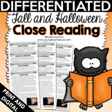 Halloween Close Reading Comprehension Passages and Questions - Fall October