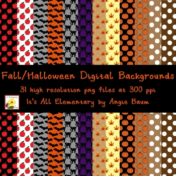 Fall and Halloween Digital Backgrounds