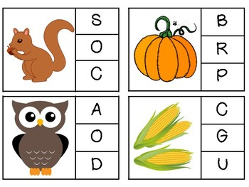 Fall and Halloween Letter and Number Clip Cards